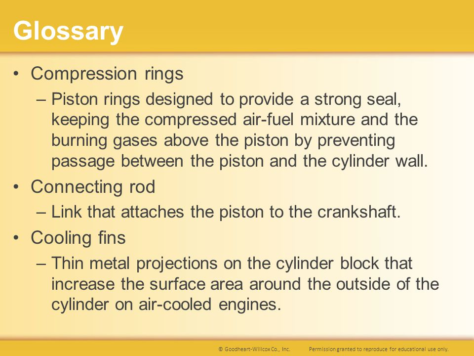 Glossary Compression rings Connecting rod Cooling fins