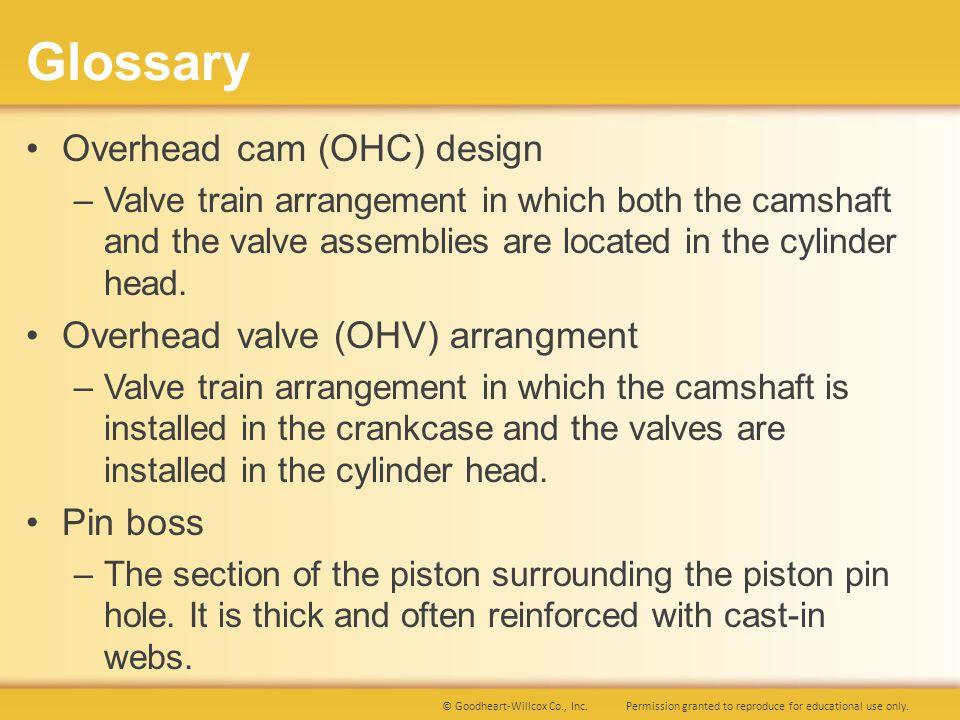 Glossary Overhead cam (OHC) design Overhead valve (OHV) arrangment