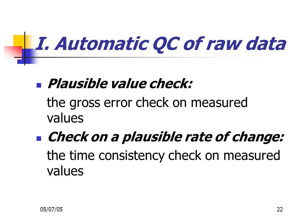 I. Automatic QC of raw data