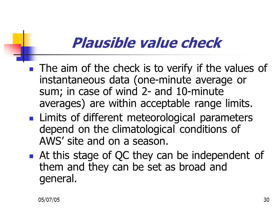 Plausible value check