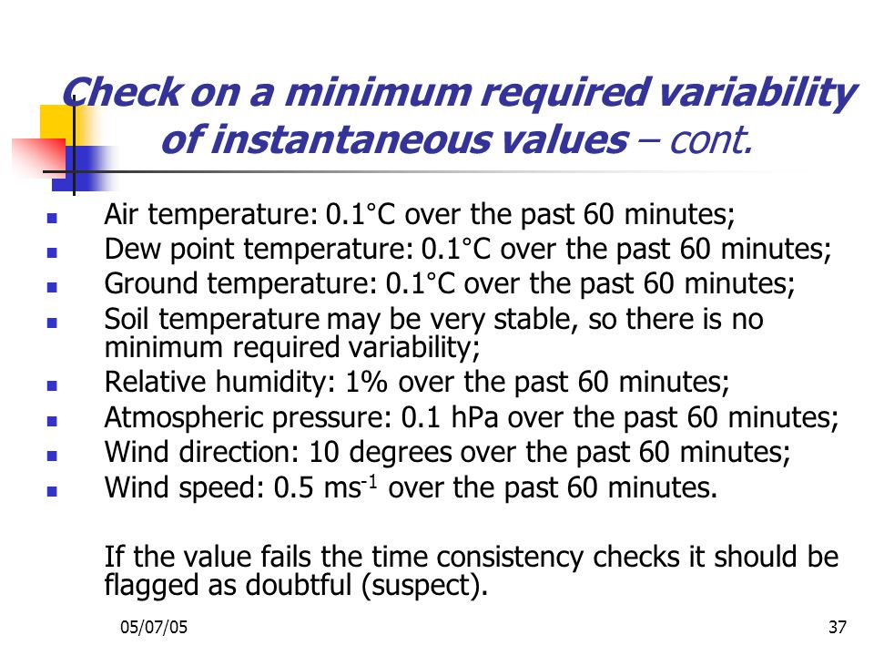 Check on a minimum required variability of instantaneous values – cont.