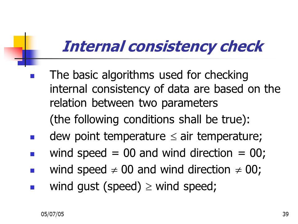 Internal consistency check