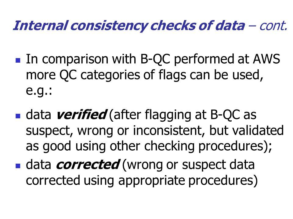 Internal consistency checks of data – cont.