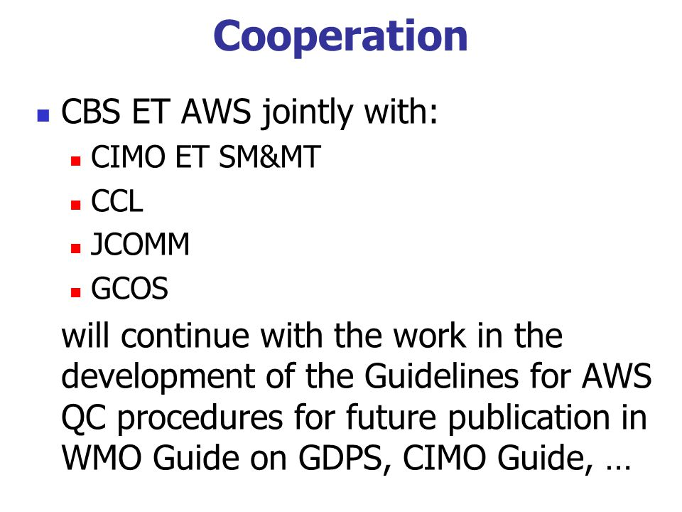 Cooperation CBS ET AWS jointly with: