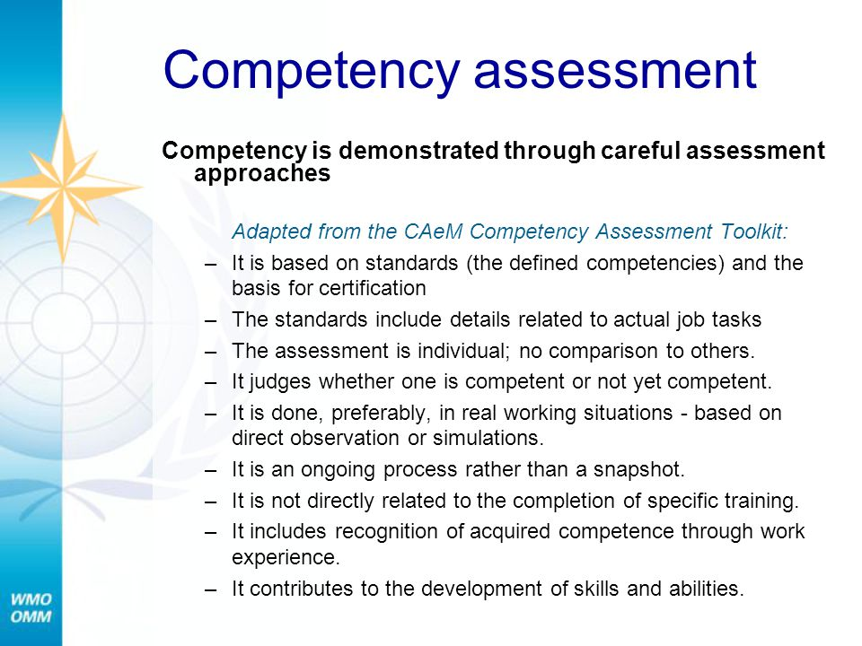 Competency assessment