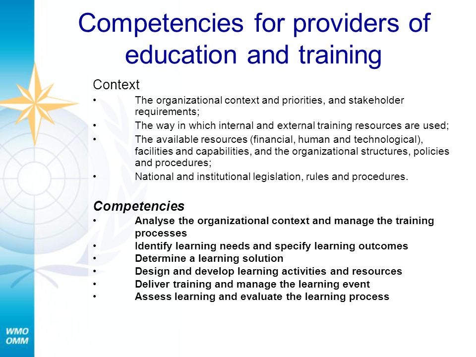 Competencies for providers of education and training
