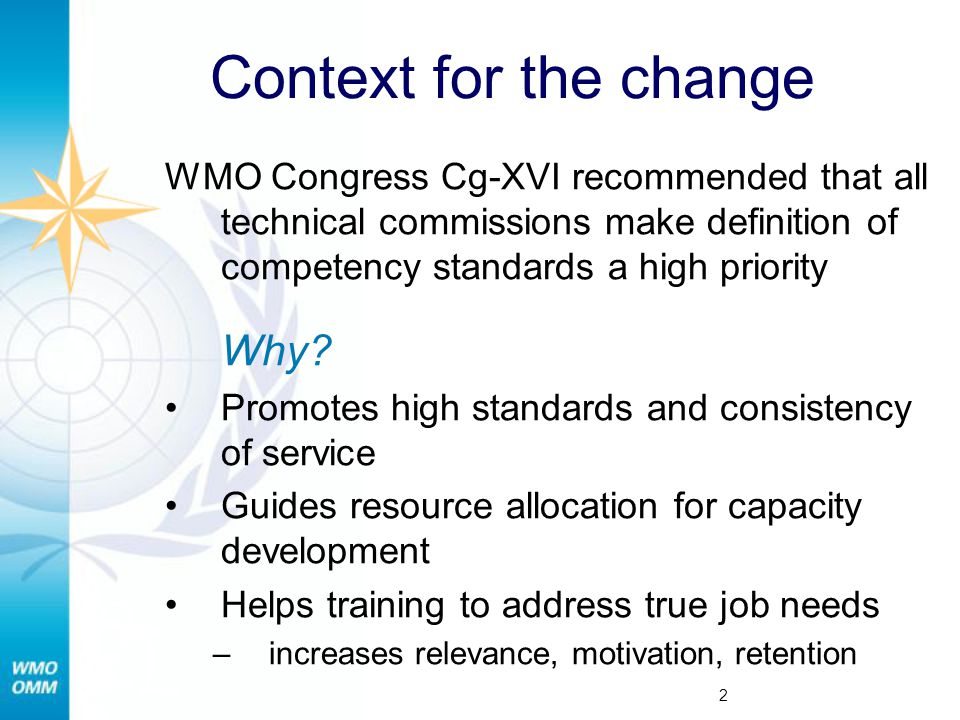 Context for the change WMO Congress Cg-XVI recommended that all technical commissions make definition of competency standards a high priority.