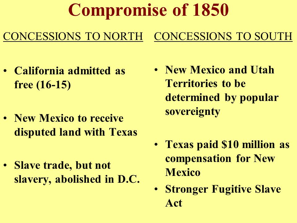 Compromise of 1850 CONCESSIONS TO NORTH
