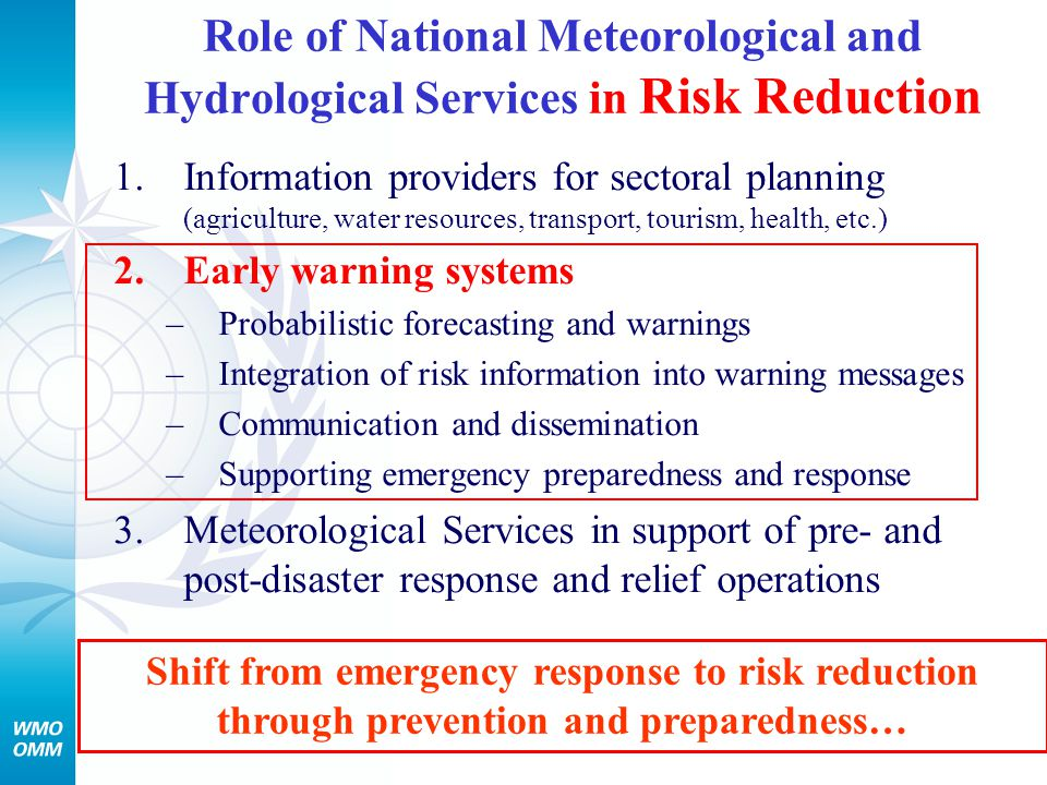Role of National Meteorological and Hydrological Services in Risk Reduction