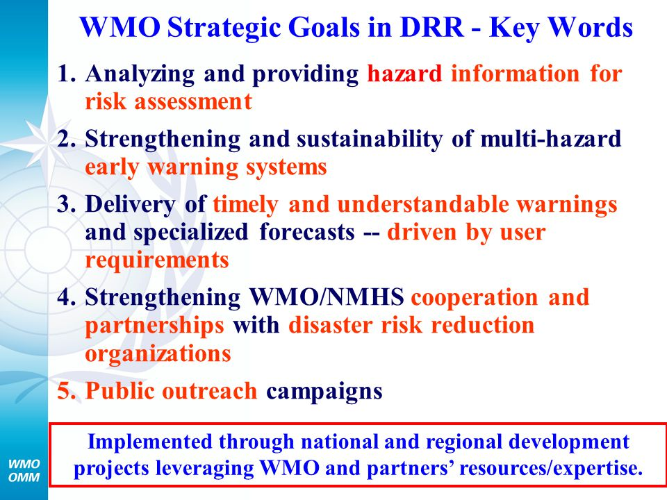 WMO Strategic Goals in DRR - Key Words