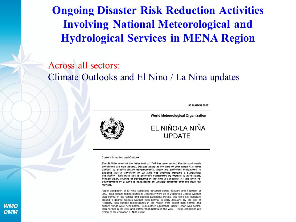 Ongoing Disaster Risk Reduction Activities Involving National Meteorological and Hydrological Services in MENA Region