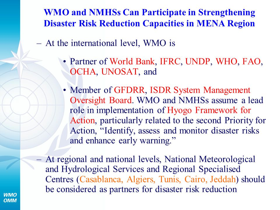 WMO and NMHSs Can Participate in Strengthening Disaster Risk Reduction Capacities in MENA Region