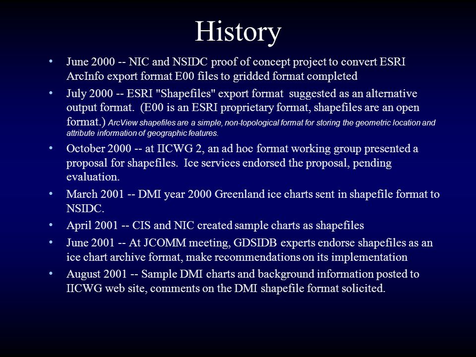History June 2000 -- NIC and NSIDC proof of concept project to convert ESRI ArcInfo export format E00 files to gridded format completed.