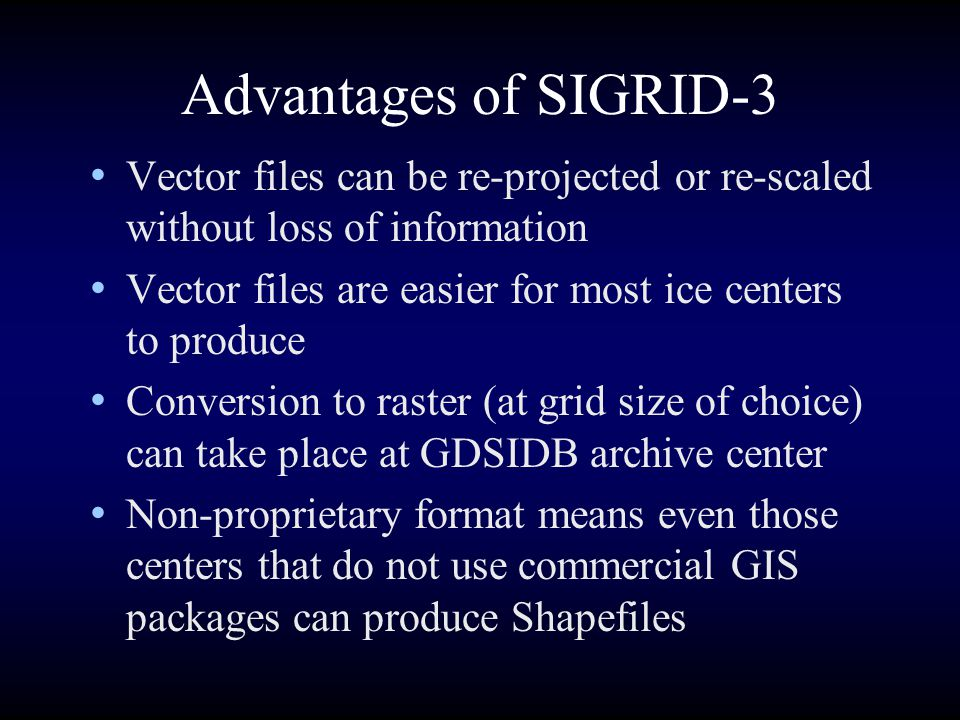 Advantages of SIGRID-3 Vector files can be re-projected or re-scaled without loss of information.
