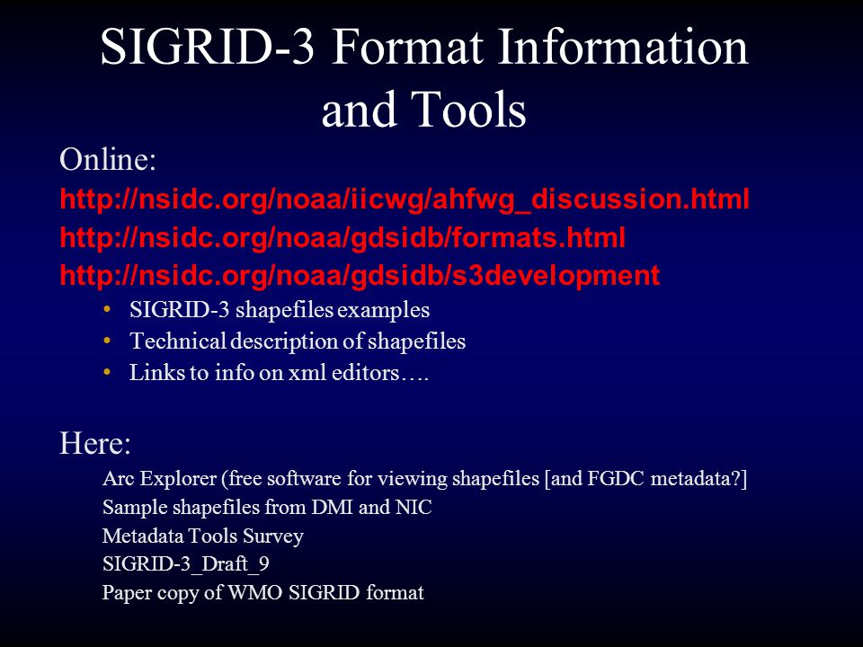 SIGRID-3 Format Information and Tools