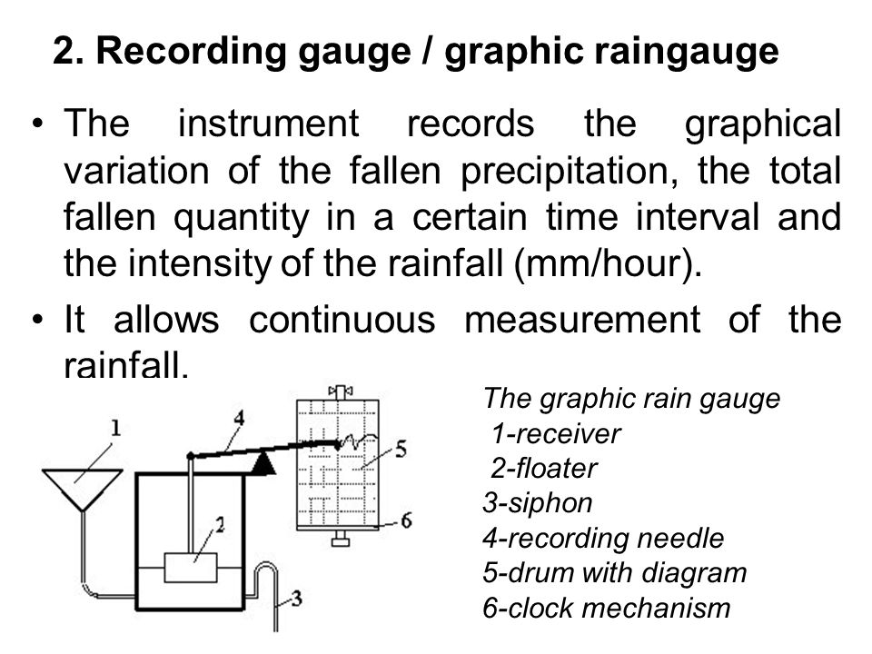 2. Recording gauge / graphic raingauge
