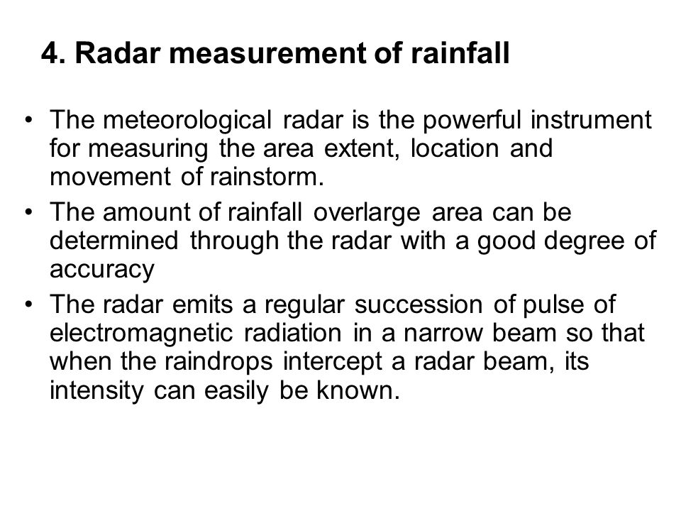 4. Radar measurement of rainfall