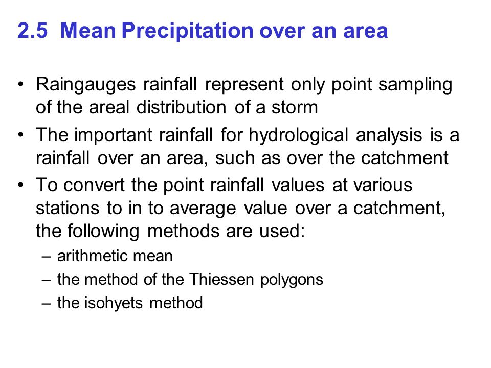 2.5 Mean Precipitation over an area