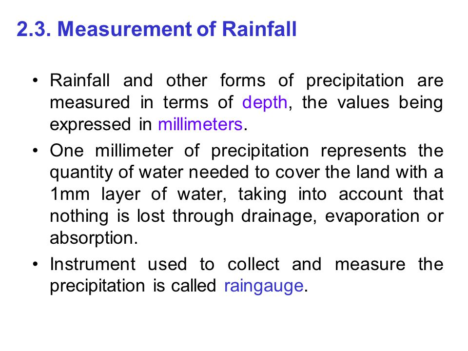 2.3. Measurement of Rainfall