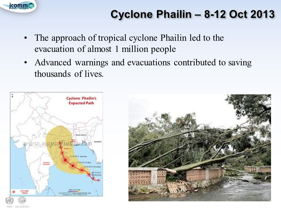 Cyclone Phailin – 8-12 Oct 2013 The approach of tropical cyclone Phailin led to the evacuation of almost 1 million people.