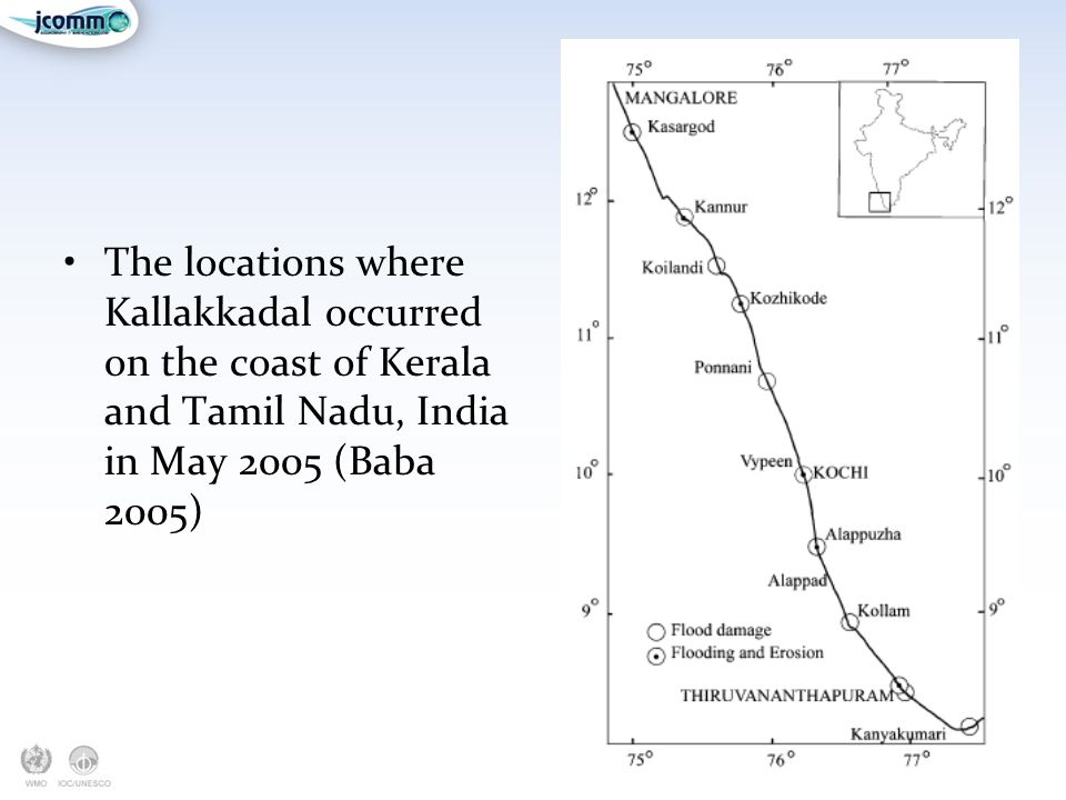 The locations where Kallakkadal occurred on the coast of Kerala and Tamil Nadu, India in May 2005 (Baba 2005)
