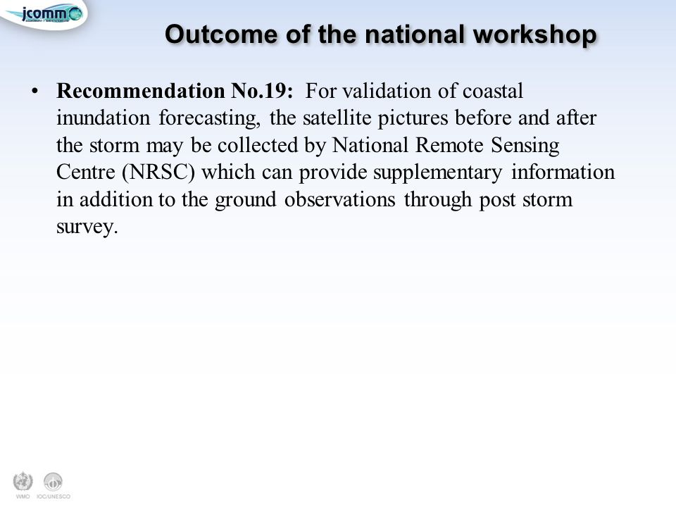 Outcome of the national workshop