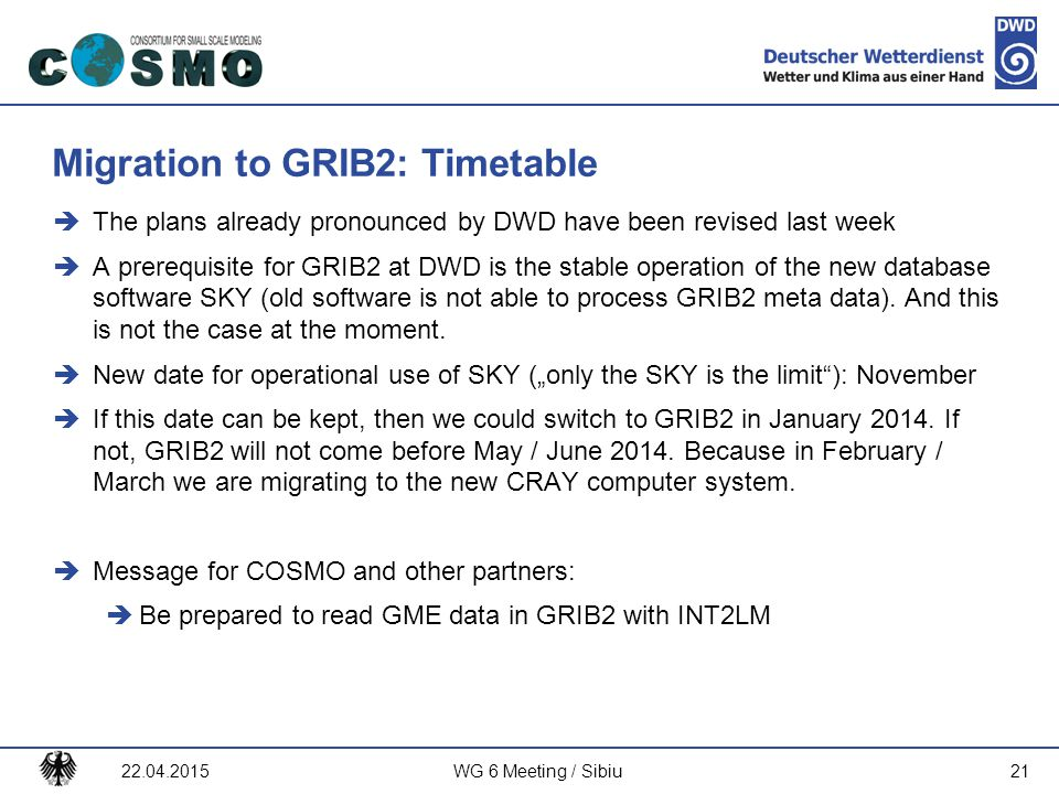 Migration to GRIB2: Timetable