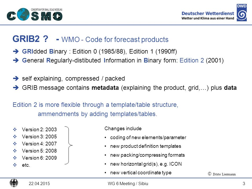 GRIB2 - WMO - Code for forecast products