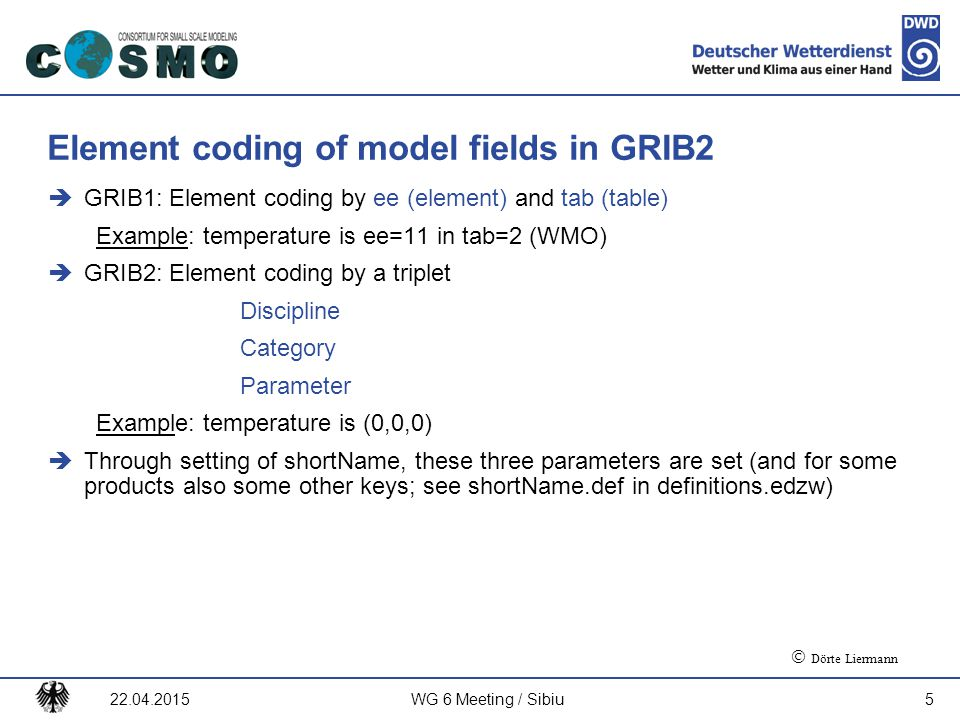Element coding of model fields in GRIB2