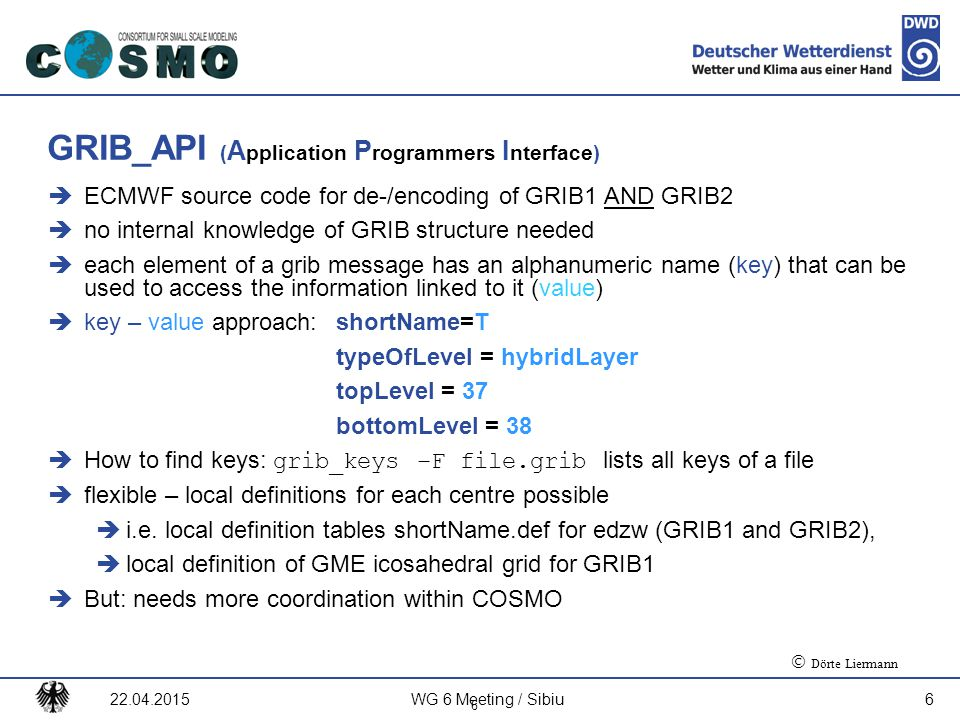 GRIB_API (Application Programmers Interface)