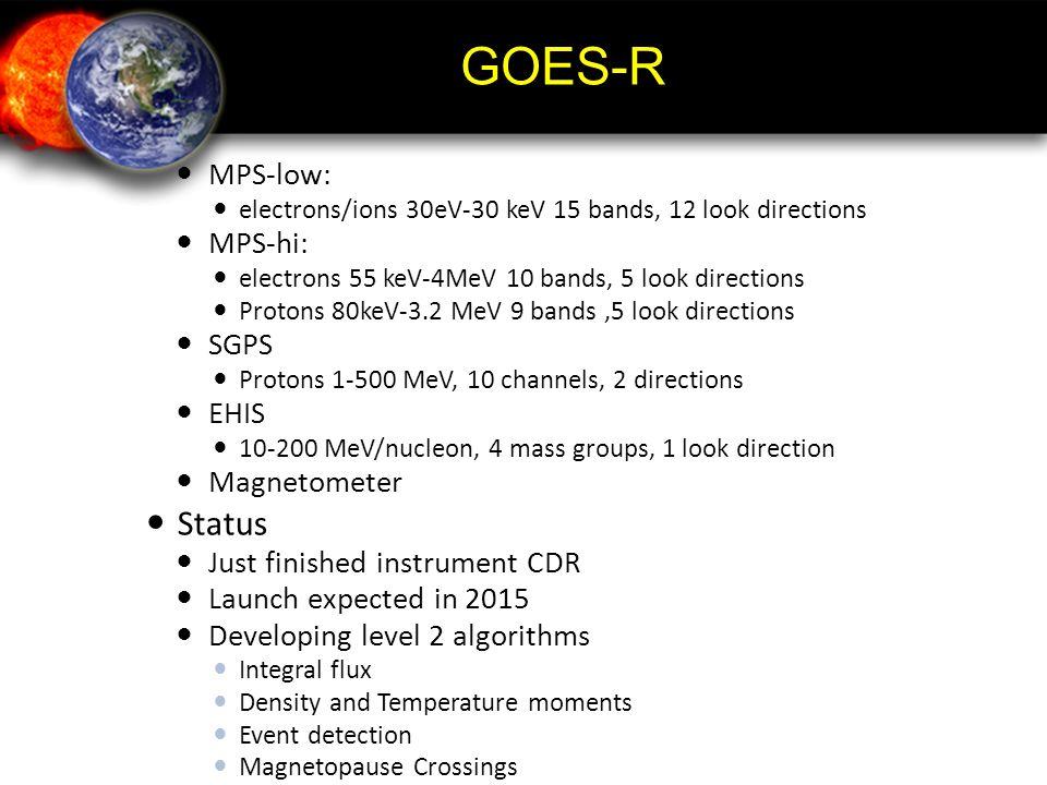 GOES-R Status MPS-low: MPS-hi: SGPS EHIS Magnetometer