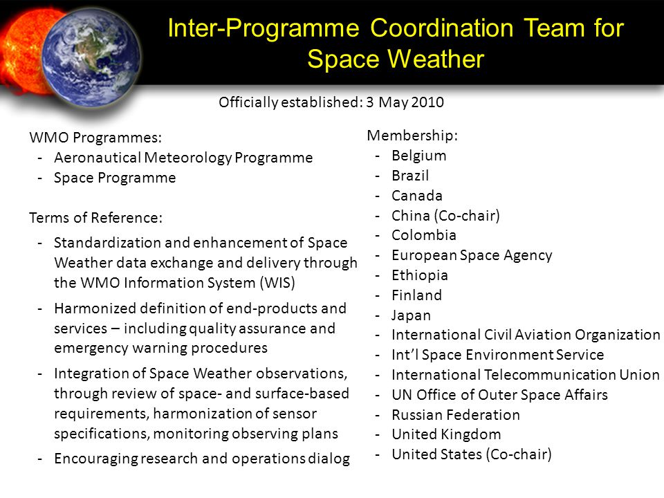 Inter-Programme Coordination Team for Space Weather