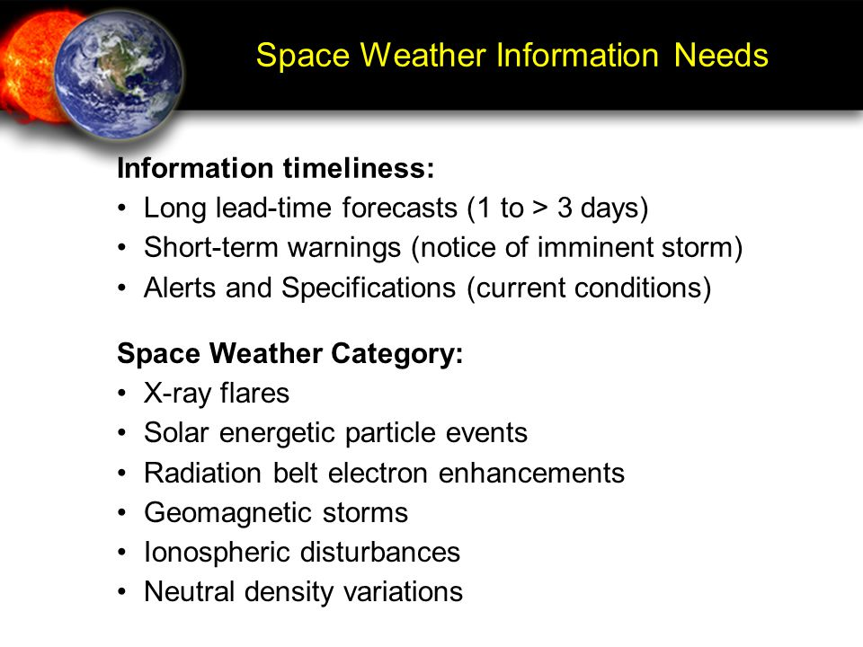 Space Weather Information Needs