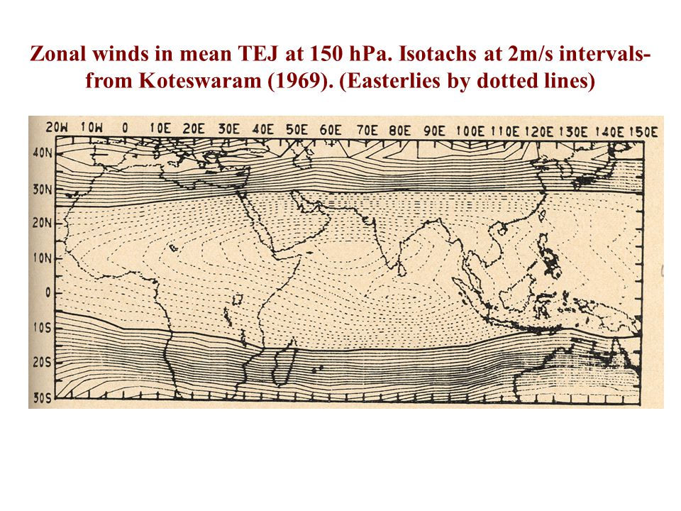Zonal winds in mean TEJ at 150 hPa