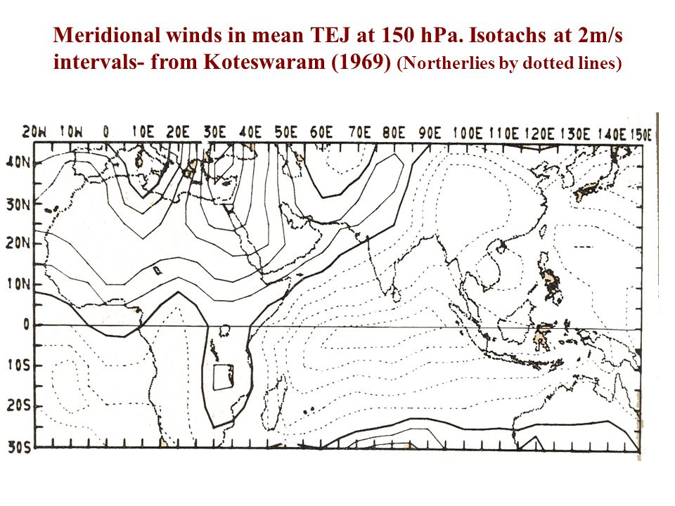 Meridional winds in mean TEJ at 150 hPa