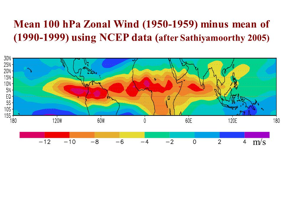Mean 100 hPa Zonal Wind (1950-1959) minus mean of (1990-1999) using NCEP data (after Sathiyamoorthy 2005)