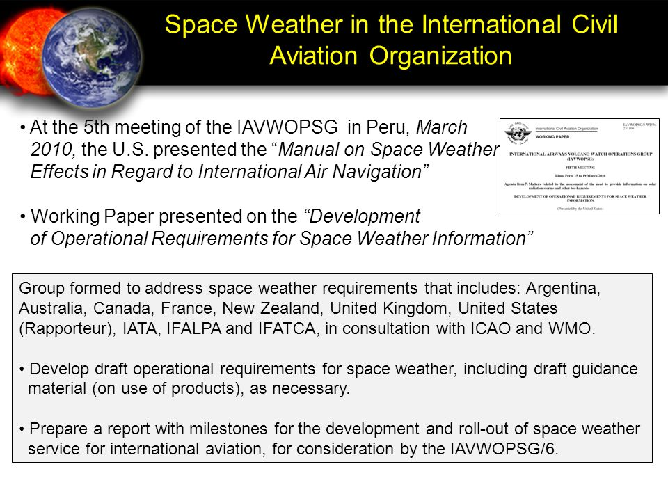 Space Weather in the International Civil Aviation Organization