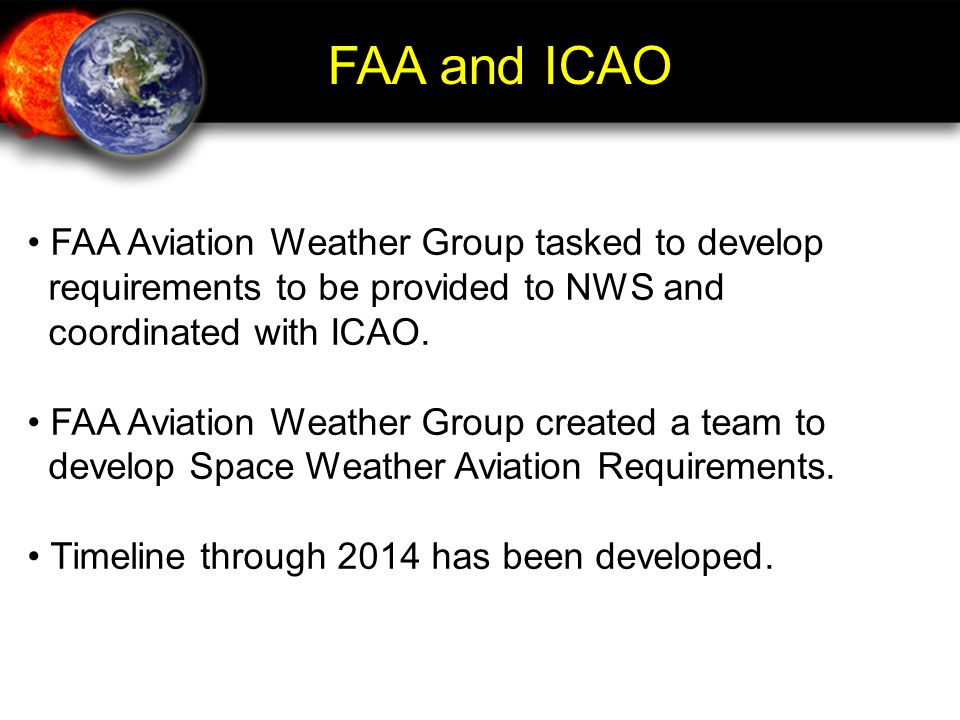 FAA and ICAO FAA Aviation Weather Group tasked to develop