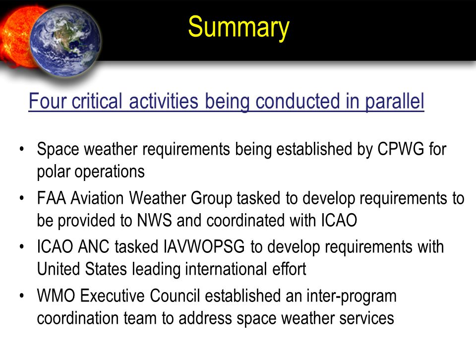Summary Four critical activities being conducted in parallel