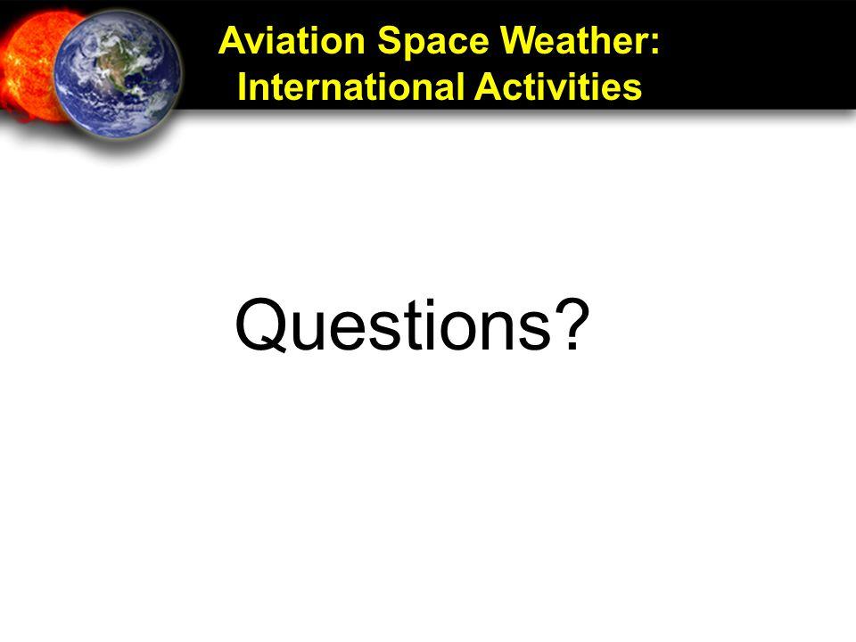 Aviation Space Weather: International Activities