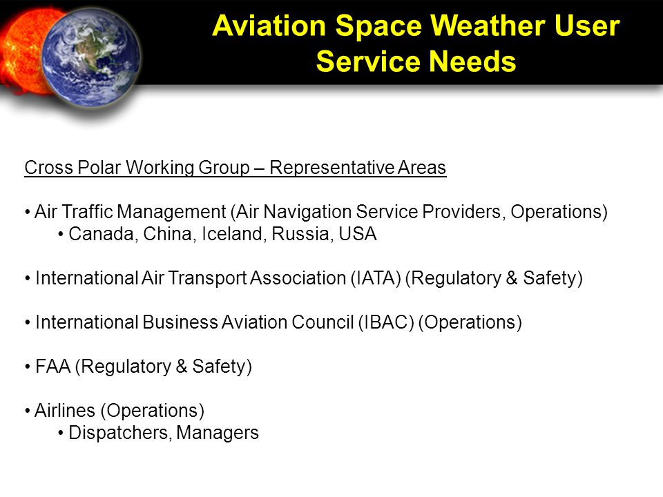Aviation Space Weather User Service Needs