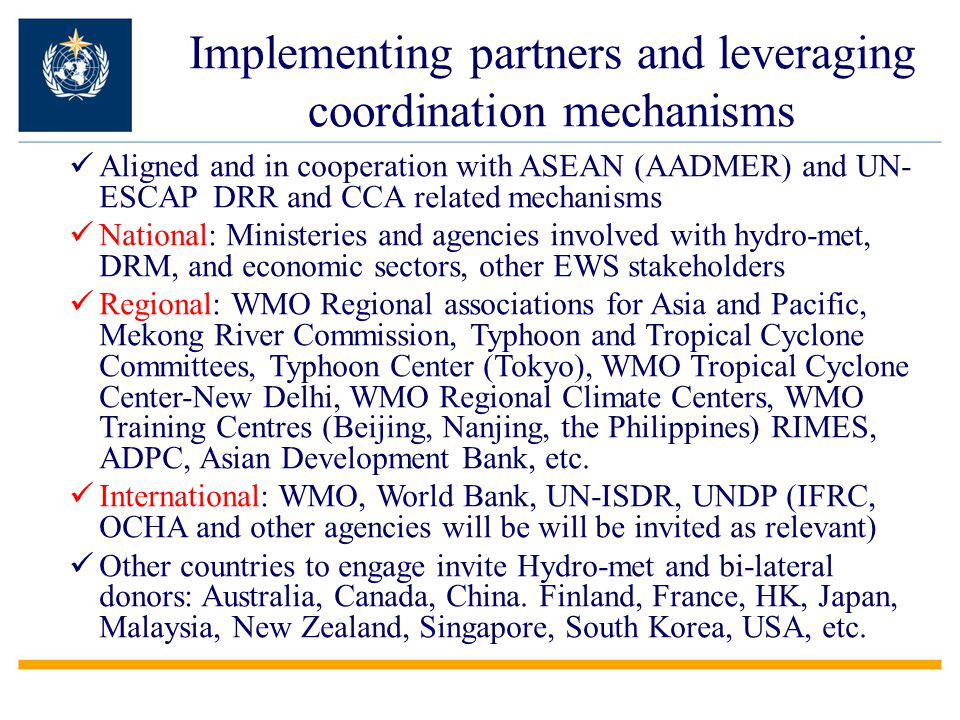 Implementing partners and leveraging coordination mechanisms