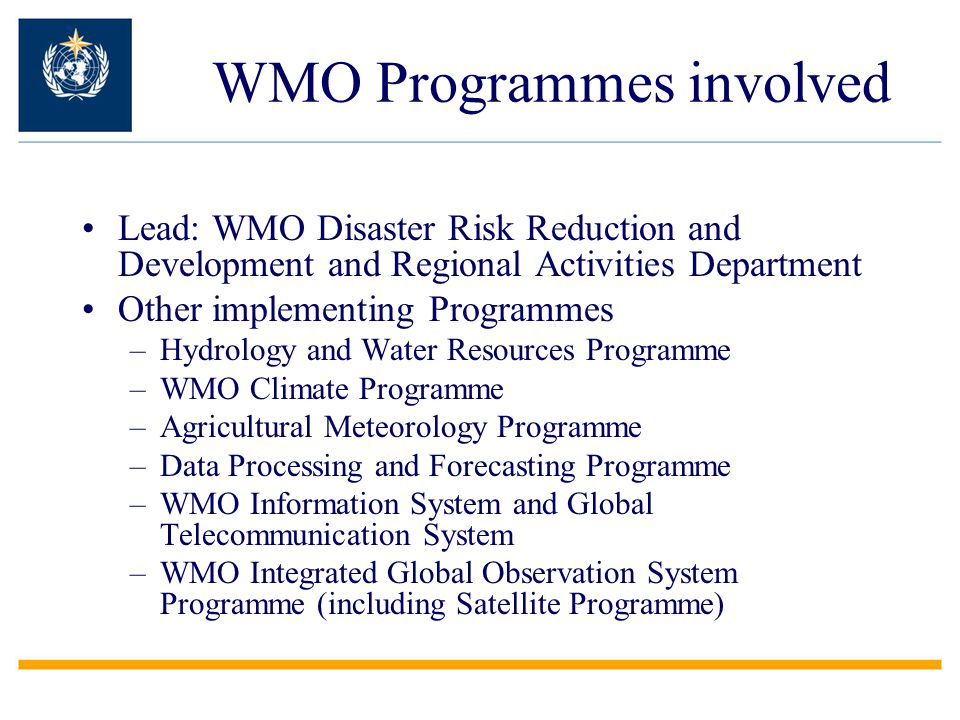 WMO Programmes involved