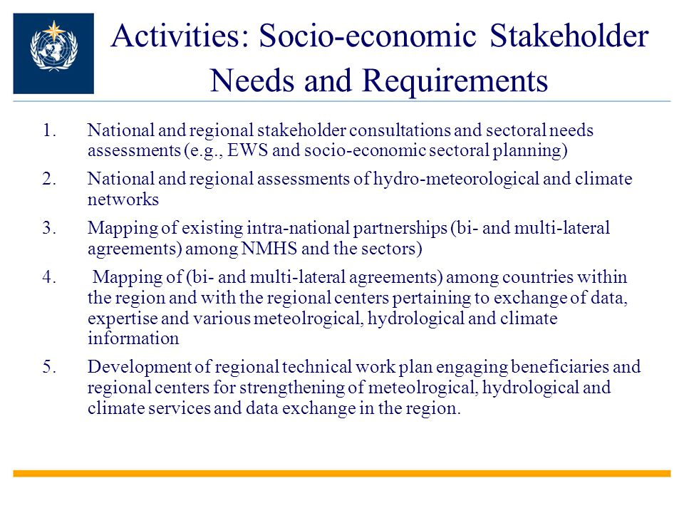 Activities: Socio-economic Stakeholder Needs and Requirements