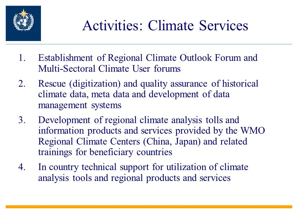 Activities: Climate Services