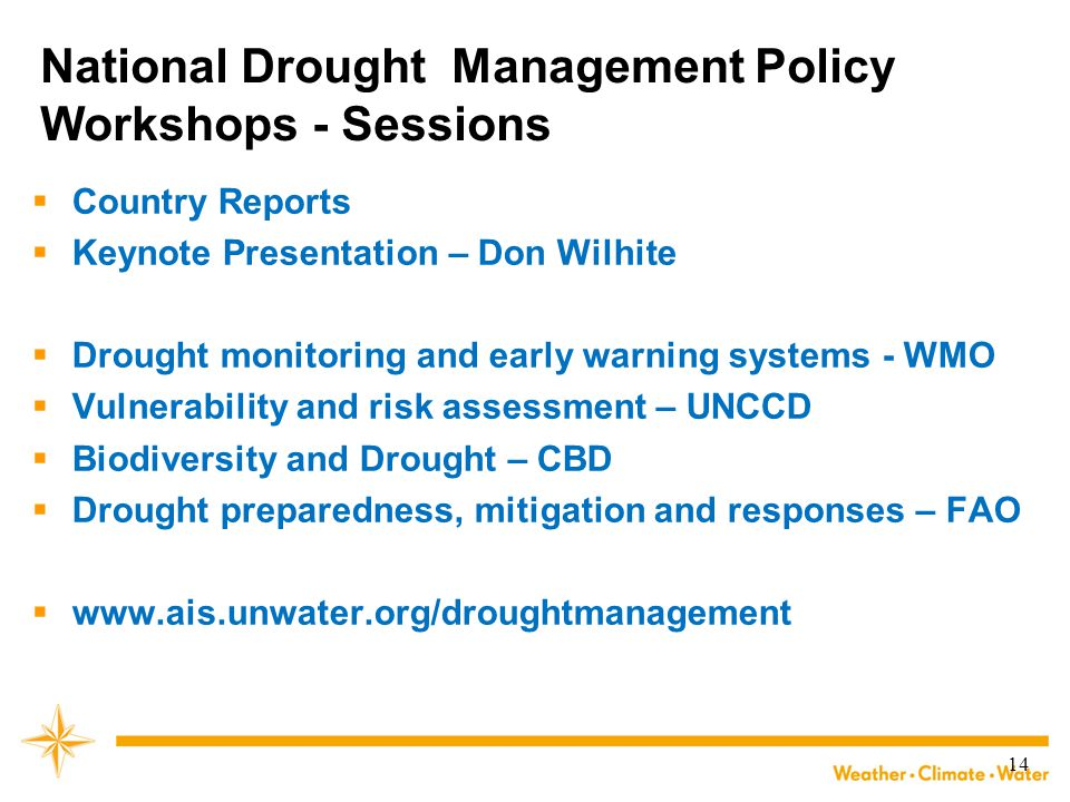 National Drought Management Policy Workshops - Sessions