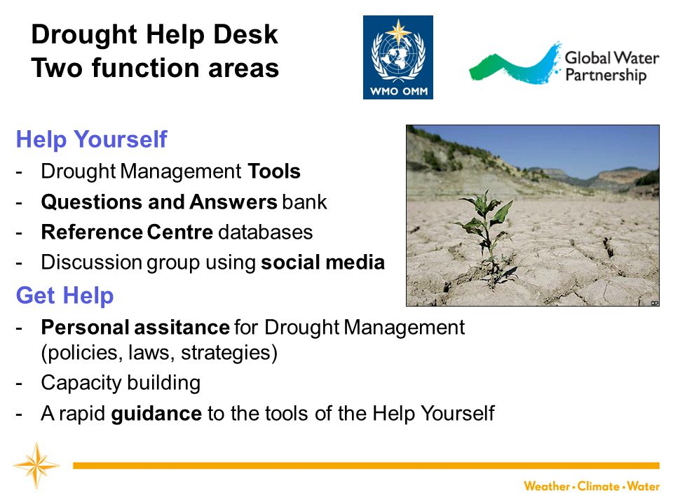 Drought Help Desk Two function areas Help Yourself Get Help