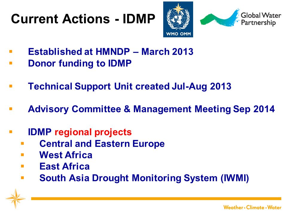 Current Actions - IDMP Established at HMNDP – March 2013