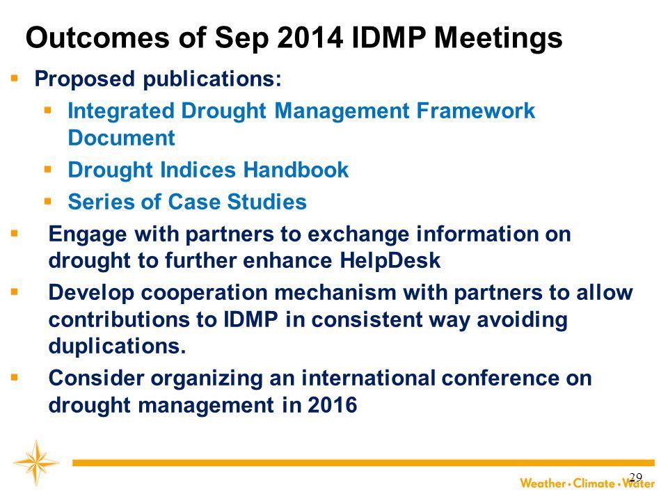 Outcomes of Sep 2014 IDMP Meetings