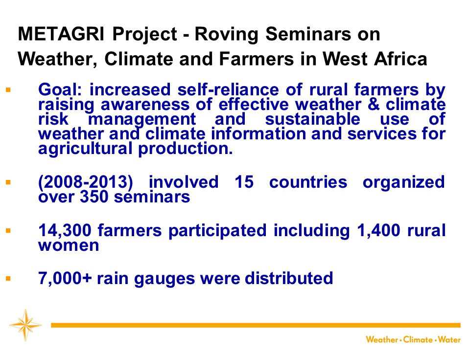 METAGRI Project - Roving Seminars on Weather, Climate and Farmers in West Africa